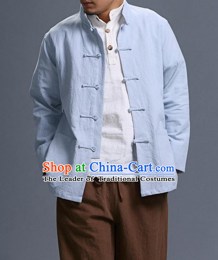 Traditional Top Chinese National Tang Suits Linen Costume, Martial Arts Kung Fu Front Opening Stand Collar Light Blue Coats, Kung fu Plate Buttons Jacket, Chinese Taichi Short Coats Wushu Clothing for Men