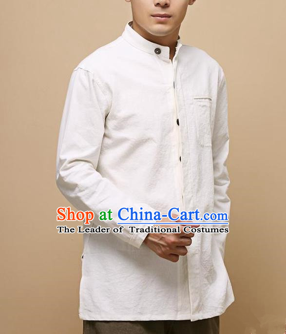 Traditional Top Chinese National Tang Suits Linen Frock Costume, Martial Arts Kung Fu Chinese Tunic Suit White Shirt, Sun Yat Sen Suit Thin Upper Outer Garment Blouse, Chinese Taichi Thin Shirts Wushu Clothing for Men
