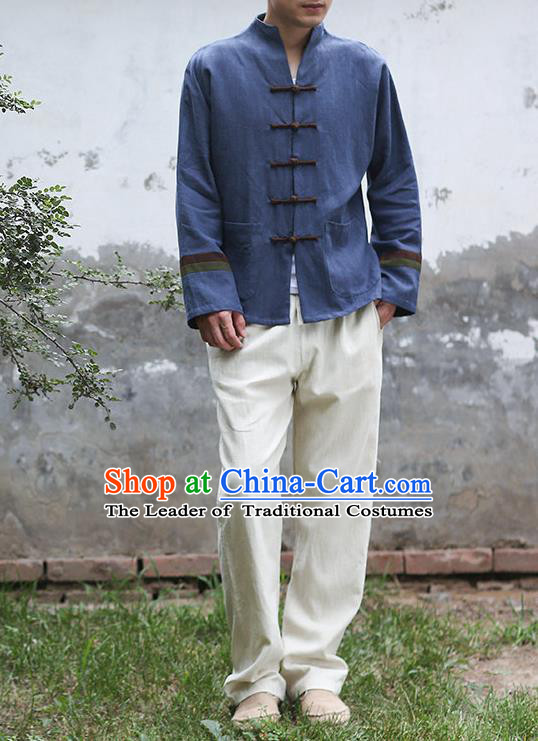 Traditional Top Chinese National Tang Suits Linen Frock Costume, Martial Arts Kung Fu Embroidery Totem Slant Opening Navy Shirt, Kung fu Plate Buttons Thin Upper Outer Garment Jacket, Chinese Taichi Thin Coats Wushu Clothing for Men