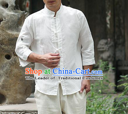 Traditional Top Chinese National Tang Suits Linen Frock Costume, Martial Arts Kung Fu Stand Collar White Shirt, Kung fu Plate Buttons Thin Upper Outer Garment Blouse, Chinese Taichi Thin Shirts Wushu Clothing for Men