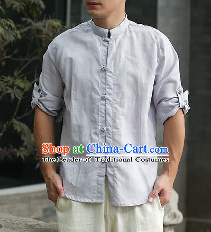 Traditional Top Chinese National Tang Suits Linen Frock Costume, Martial Arts Kung Fu Stand Collar Blue Shirt, Kung fu Plate Buttons Thin Upper Outer Garment Blouse, Chinese Taichi Thin Shirts Wushu Clothing for Men