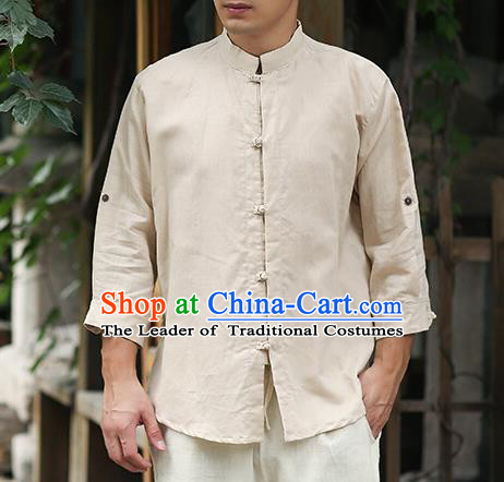Traditional Top Chinese National Tang Suits Linen Frock Costume, Martial Arts Kung Fu Stand Collar Beige Shirt, Kung fu Plate Buttons Thin Upper Outer Garment Blouse, Chinese Taichi Thin Shirts Wushu Clothing for Men