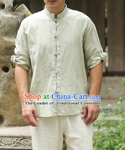 Traditional Top Chinese National Tang Suits Linen Frock Costume, Martial Arts Kung Fu Stand Collar Green Shirt, Kung fu Plate Buttons Thin Upper Outer Garment Blouse, Chinese Taichi Thin Shirts Wushu Clothing for Men