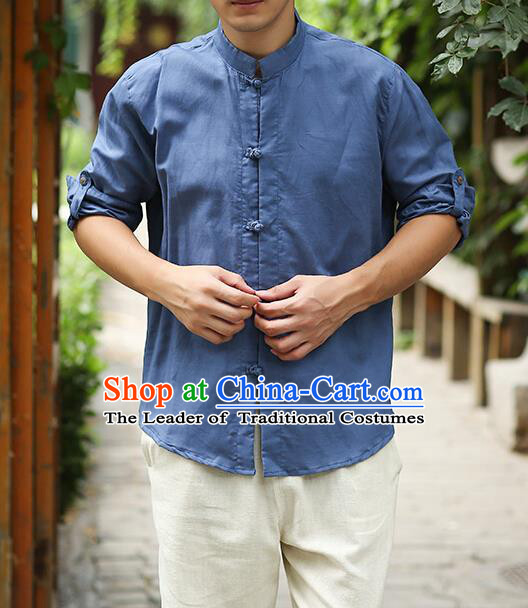 Traditional Top Chinese National Tang Suits Linen Frock Costume, Martial Arts Kung Fu Stand Collar Deep Blue Shirt, Kung fu Plate Buttons Thin Upper Outer Garment Blouse, Chinese Taichi Thin Shirts Wushu Clothing for Men