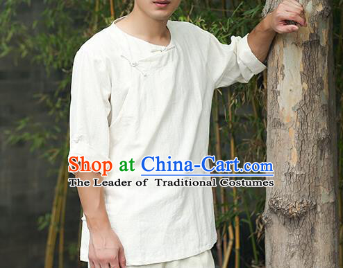 Traditional Top Chinese National Tang Suits Linen Frock Costume, Martial Arts Kung Fu Slant Opening White T-Shirt, Kung fu Plate Buttons Upper Outer Garment Half Sleeve Blouse, Chinese Taichi Thin Shirts Wushu Clothing for Men