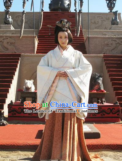Traditional Top Chinese Ancient Imperial Consort Costume, Elegant Hanfu Dress Chinese Qin Dynasty Imperial Princess Embroidered Tailing Clothing for Women