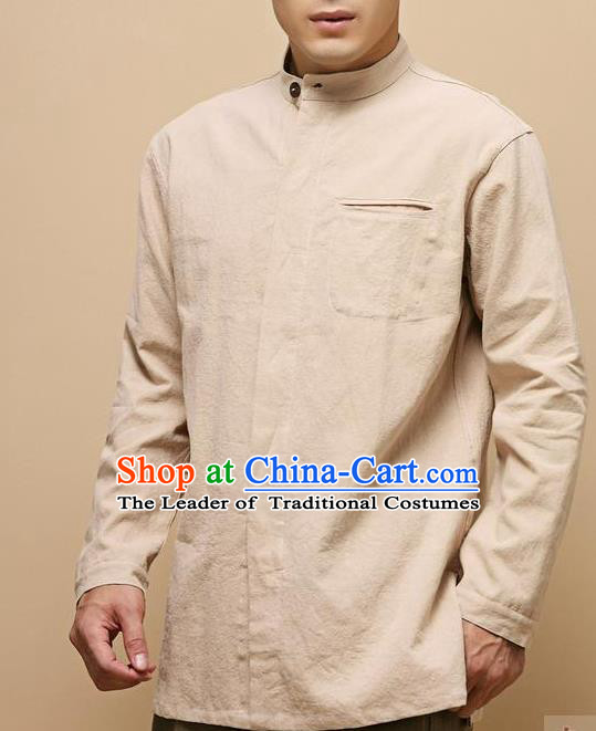 Traditional Top Chinese National Tang Suits Linen Frock Costume, Martial Arts Kung Fu Chinese Tunic Suit Beige Shirt, Sun Yat Sen Suit Thin Upper Outer Garment Blouse, Chinese Taichi Thin Shirts Wushu Clothing for Men
