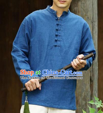 Traditional Top Chinese National Tang Suits Linen Frock Costume, Martial Arts Kung Fu Long Sleeve Deep Blue T-Shirt, Kung fu Plate Buttons Upper Outer Garment Half Sleeve Blouse, Chinese Taichi Thin Shirts Wushu Clothing for Men