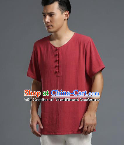 Traditional Top Chinese National Tang Suits Linen Frock Costume, Martial Arts Kung Fu Long Sleeve Dark Red T-Shirt, Kung fu Plate Buttons Upper Outer Garment Half Sleeve Blouse, Chinese Taichi Thin Shirts Wushu Clothing for Men