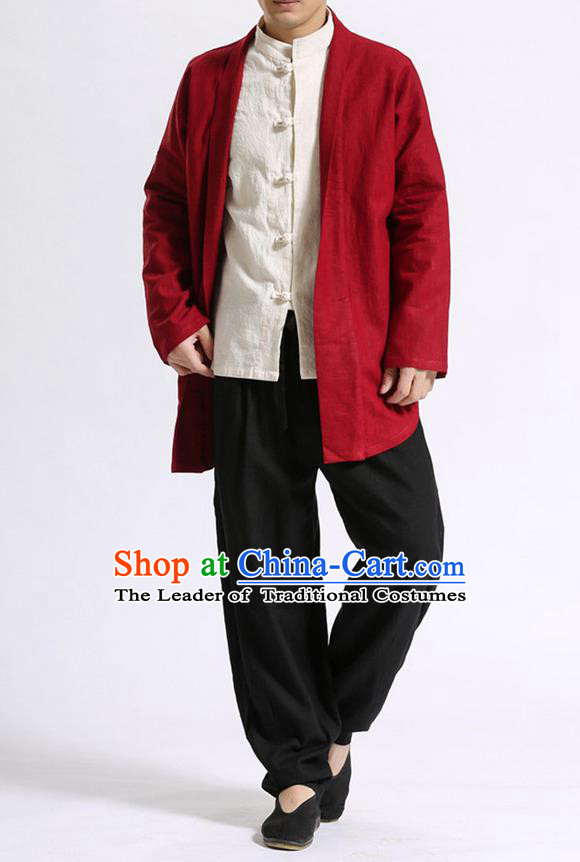 Traditional Top Chinese National Tang Suits Linen Costume, Martial Arts Kung Fu Dark Red Cardigan, Chinese Kung fu Thin Upper Outer Garment Overcoats, Chinese Taichi Thin Coats Wushu Clothing for Men