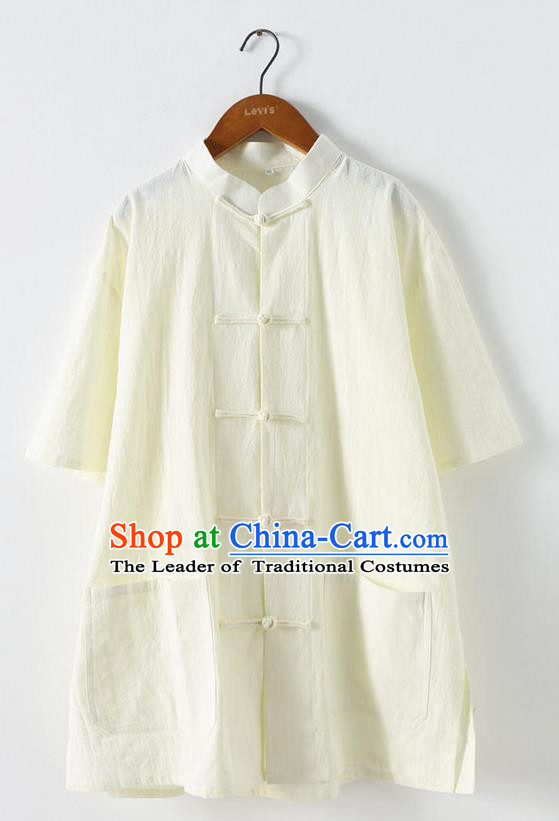 Traditional Top Chinese National Tang Suits Linen Front Opening Costume, Martial Arts Kung Fu Stand Collar Short Sleeve White T-Shirt, Chinese Kung fu Plate Buttons Upper Outer Garment Blouse, Chinese Taichi Thin Shirts Wushu Clothing for Men