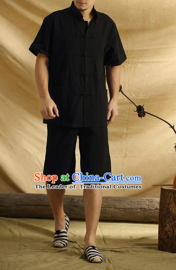 Traditional Top Chinese National Tang Suits Linen Front Opening Costume, Martial Arts Kung Fu Stand Collar Short Sleeve Black T-Shirt, Chinese Kung fu Plate Buttons Upper Outer Garment Blouse, Chinese Taichi Thin Shirts Wushu Clothing for Men