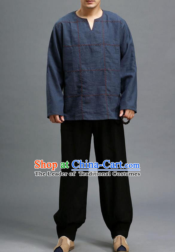 Traditional Top Chinese National Tang Suits Linen Costume, Martial Arts Kung Fu Embroidery Threads Long Sleeve Navy T-Shirt, Chinese Kung fu Upper Outer Garment Blouse, Chinese Taichi Thin Shirts Wushu Clothing for Men