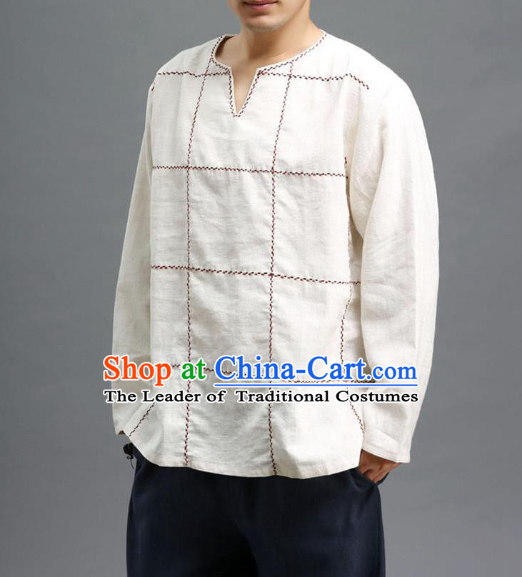 Traditional Top Chinese National Tang Suits Linen Costume, Martial Arts Kung Fu Embroidery Threads Long Sleeve White T-Shirt, Chinese Kung fu Upper Outer Garment Blouse, Chinese Taichi Thin Shirts Wushu Clothing for Men