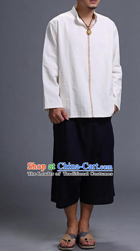 Traditional Top Chinese National Tang Suits Linen Costume, Martial Arts Kung Fu Stand Collar Long Sleeve White Overcoat, Chinese Kung fu Upper Outer Garment Blouse, Chinese Taichi Thin Shirts Wushu Clothing for Men