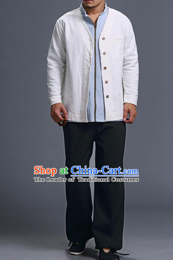Traditional Top Chinese National Tang Suits Linen Costume, Martial Arts Kung Fu Long Sleeve White Overcoat, Chinese Kung fu Upper Outer Garment Jacket, Chinese Taichi Thin Short Cardigan Wushu Clothing for Men