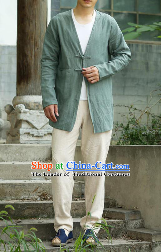 Traditional Top Chinese National Tang Suits Linen Costume, Martial Arts Kung Fu Plate Buttons Green Overcoat, Chinese Kung fu Upper Outer Garment Dust Coat, Chinese Taichi Thin Short Cardigan Wushu Clothing for Men