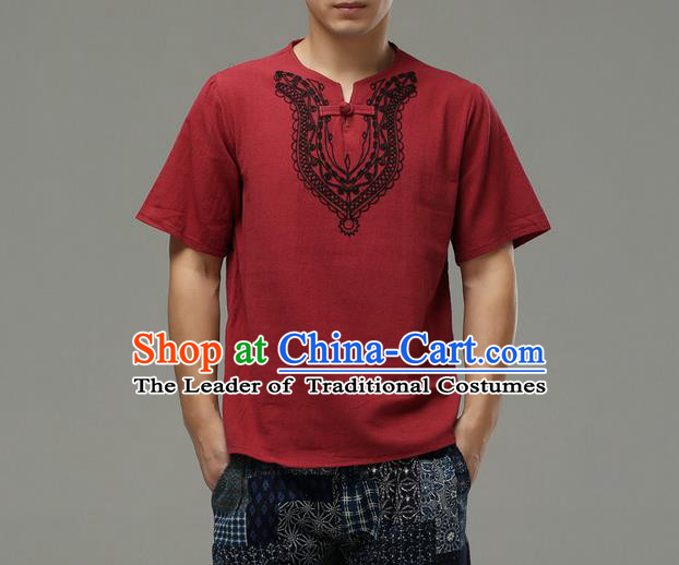 Traditional Top Chinese National Tang Suits Linen Costume, Martial Arts Kung Fu Embroidery Short Sleeve Red T-Shirt, Chinese Kung fu Plate Buttons Upper Outer Garment Blouse, Chinese Taichi Thin Shirts Wushu Clothing for Men