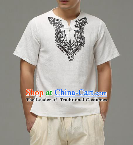 Traditional Top Chinese National Tang Suits Linen Costume, Martial Arts Kung Fu Embroidery Short Sleeve White T-Shirt, Chinese Kung fu Plate Buttons Upper Outer Garment Blouse, Chinese Taichi Thin Shirts Wushu Clothing for Men