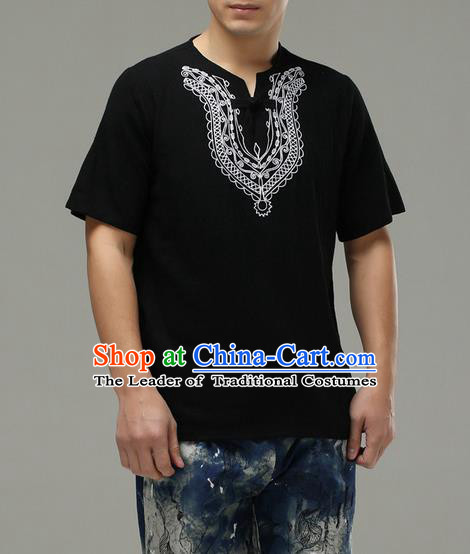 Traditional Top Chinese National Tang Suits Linen Costume, Martial Arts Kung Fu Embroidery Short Sleeve Black T-Shirt, Chinese Kung fu Plate Buttons Upper Outer Garment Blouse, Chinese Taichi Thin Shirts Wushu Clothing for Men
