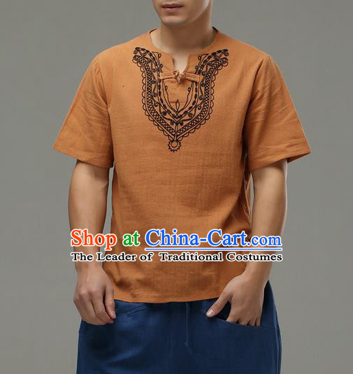 Traditional Top Chinese National Tang Suits Linen Costume, Martial Arts Kung Fu Embroidery Short Sleeve Ginger T-Shirt, Chinese Kung fu Plate Buttons Upper Outer Garment Blouse, Chinese Taichi Thin Shirts Wushu Clothing for Men