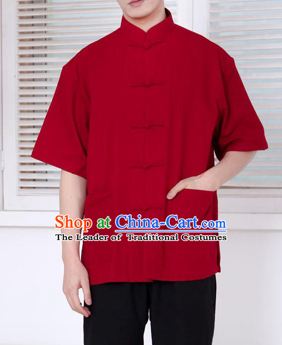 Traditional Top Chinese National Tang Suits Linen Front Opening Costume, Martial Arts Kung Fu Embroidery Short Sleeve Red Shirt, Chinese Kung fu Plate Buttons Upper Outer Garment Blouse, Chinese Taichi Thin Shirts Wushu Clothing for Men