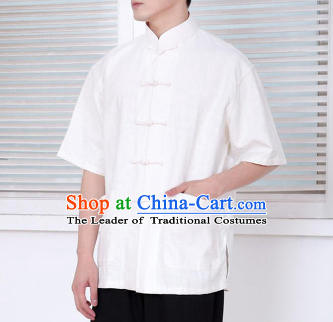 Traditional Top Chinese National Tang Suits Linen Front Opening Costume, Martial Arts Kung Fu Embroidery Short Sleeve White Shirt, Chinese Kung fu Plate Buttons Upper Outer Garment Blouse, Chinese Taichi Thin Shirts Wushu Clothing for Men