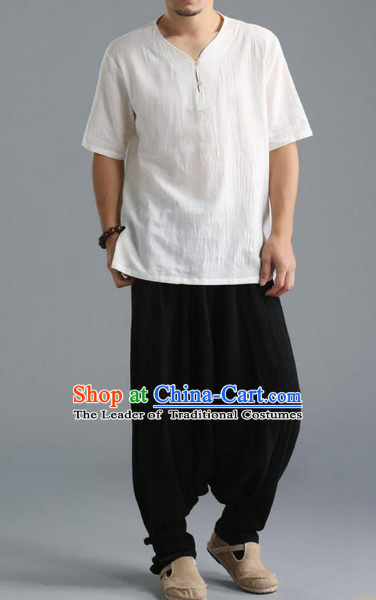 Traditional Top Chinese National Tang Suits Linen Costume, Martial Arts Kung Fu Short Sleeve White Shirt, Chinese Kung fu Plate Buttons Upper Outer Garment Blouse, Chinese Taichi Thin Shirts Wushu Clothing for Men