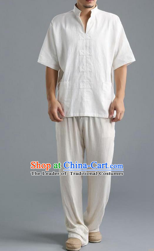 Traditional Top Chinese National Tang Suits Linen Costume, Martial Arts Kung Fu Short Sleeve White Shirt, Chinese Kung fu Upper Outer Garment Blouse, Chinese Taichi Thin Shirts Wushu Clothing for Men