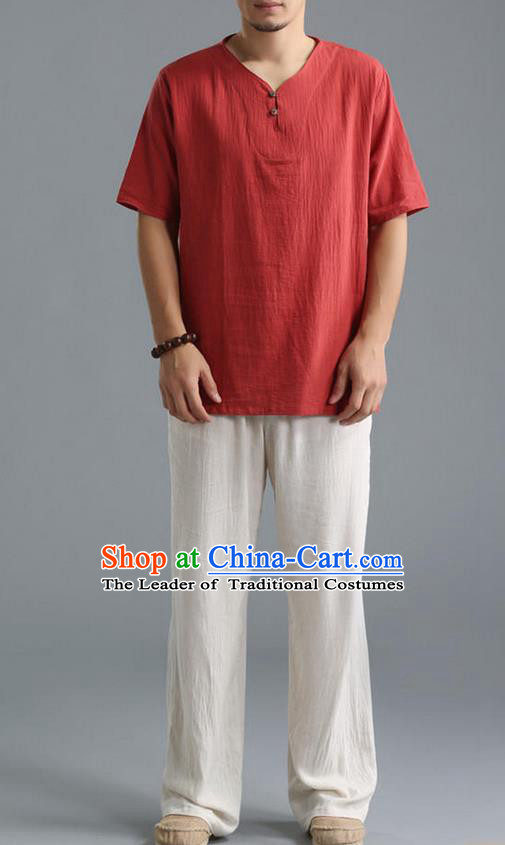 Traditional Top Chinese National Tang Suits Linen Costume, Martial Arts Kung Fu Short Sleeve Red Shirt, Chinese Kung fu Plate Buttons Upper Outer Garment Blouse, Chinese Taichi Thin Shirts Wushu Clothing for Men