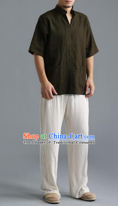 Traditional Top Chinese National Tang Suits Linen Costume, Martial Arts Kung Fu Short Sleeve Black Shirt, Chinese Kung fu Upper Outer Garment Blouse, Chinese Taichi Thin Shirts Wushu Clothing for Men