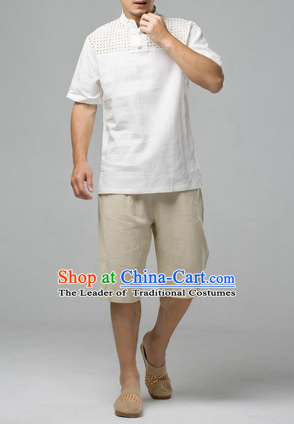 Traditional Top Chinese National Tang Suits Linen Costume, Martial Arts Kung Fu Short Sleeve White Hollow Shirt, Chinese Kung fu Plate Buttons Upper Outer Garment Blouse, Chinese Taichi Thin Shirts Wushu Clothing for Men