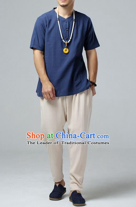 Traditional Top Chinese National Tang Suits Linen Costume, Martial Arts Kung Fu Short Sleeve Navy Shirt, Chinese Kung fu Brass Buttons Upper Outer Garment Blouse, Chinese Taichi Thin Shirts Wushu Clothing for Men