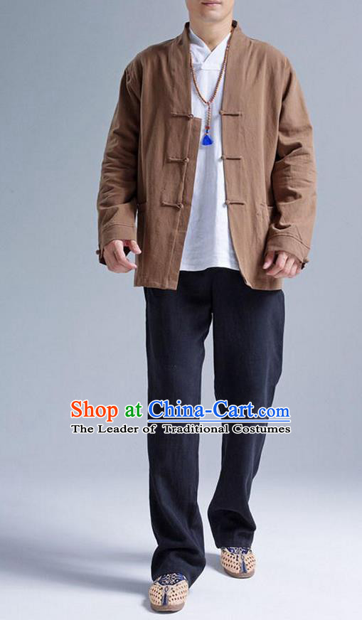 Traditional Top Chinese National Tang Suits Linen Front Opening Costume, Martial Arts Kung Fu Brown Coats, Chinese Kung fu Plate Buttons Jacket, Chinese Taichi Short Coats Wushu Cardigan Clothing for Men