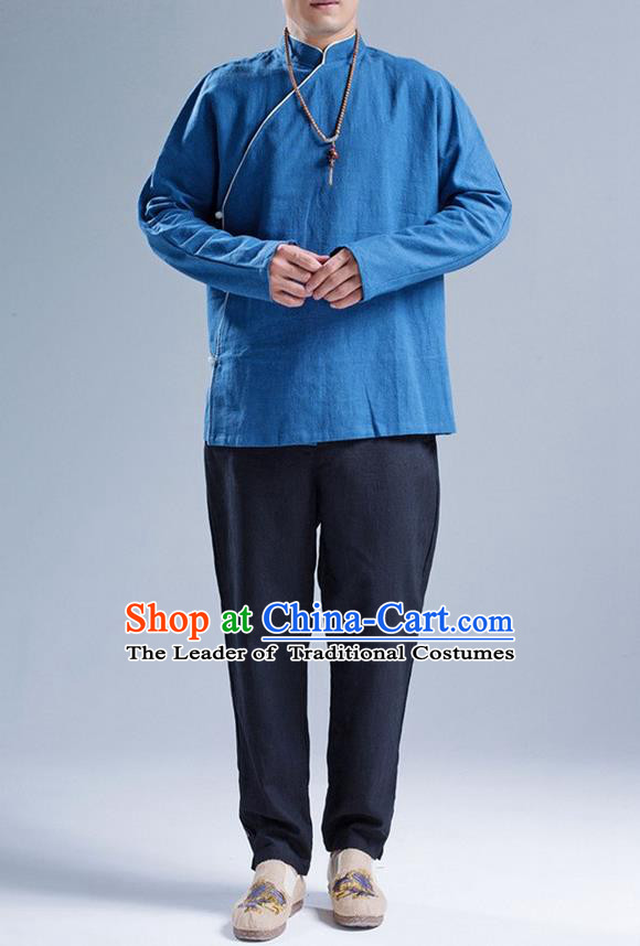 Traditional Top Chinese National Tang Suits Linen Slant Opening Costume, Martial Arts Kung Fu Stand Collar Deep Blue Shirt, Chinese Kung fu Upper Outer Garment Blouse, Chinese Taichi Shirts Wushu Clothing for Men