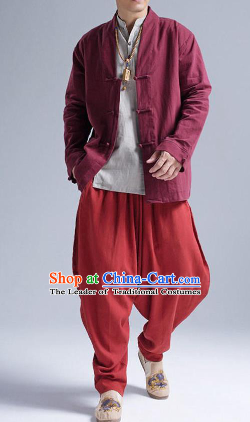 Traditional Top Chinese National Tang Suits Linen Front Opening Costume, Martial Arts Kung Fu Red Coats, Chinese Kung fu Plate Buttons Jacket, Chinese Taichi Short Coats Wushu Cardigan Clothing for Men