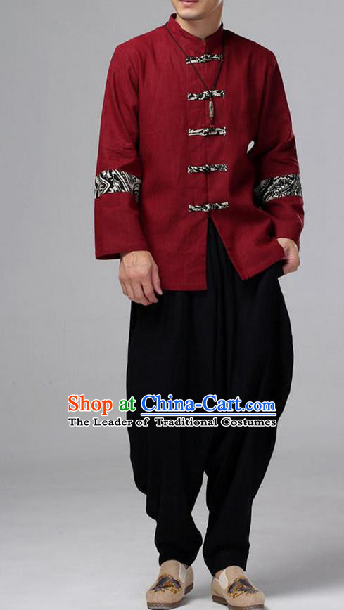Traditional Top Chinese National Tang Suits Linen Front Opening Costume, Martial Arts Kung Fu Pattern Red Overcoat, Kung fu Plate Buttons Thin Upper Outer Garment Jacket, Chinese Taichi Thin Coats Wushu Clothing for Men
