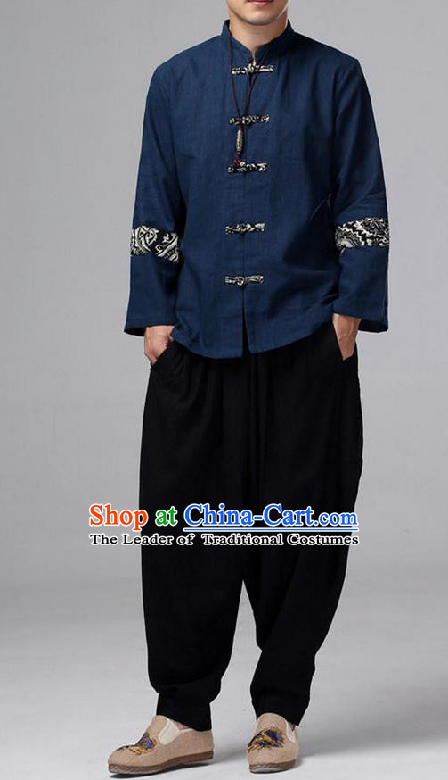 Traditional Top Chinese National Tang Suits Linen Front Opening Costume, Martial Arts Kung Fu Pattern Navy Overcoat, Kung fu Plate Buttons Thin Upper Outer Garment Jacket, Chinese Taichi Thin Coats Wushu Clothing for Men