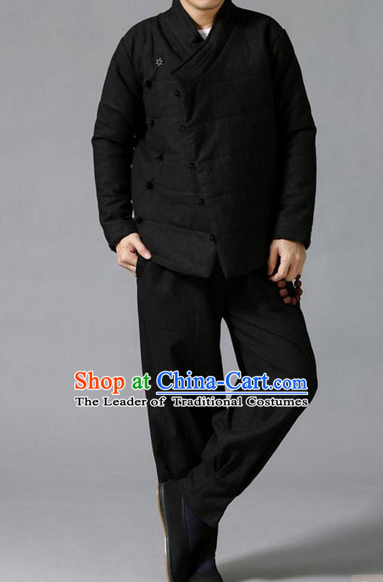 Traditional Top Chinese National Tang Suits Linen Slant Opening Costume, Martial Arts Kung Fu Black Overcoat, Chinese Kung fu Plate Buttons Upper Outer Garment Jacket, Chinese Taichi Thin Cotton-Padded Coats Wushu Clothing for Men