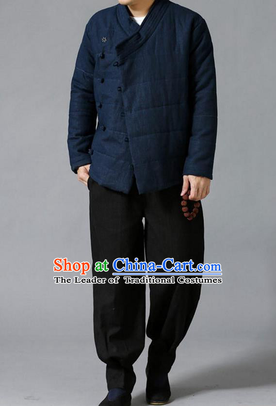 Traditional Top Chinese National Tang Suits Linen Slant Opening Costume, Martial Arts Kung Fu Navy Overcoat, Chinese Kung fu Plate Buttons Upper Outer Garment Jacket, Chinese Taichi Thin Cotton-Padded Coats Wushu Clothing for Men