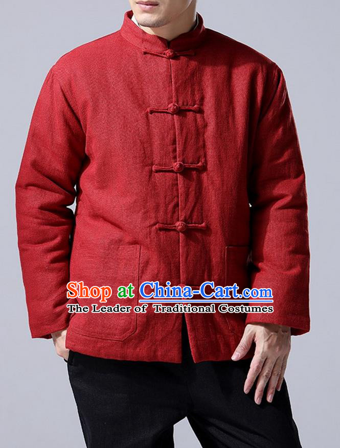 Traditional Top Chinese National Tang Suits Linen Front Opening Costume, Martial Arts Kung Fu Red Overcoat, Chinese Kung fu Plate Buttons Upper Outer Garment Jacket, Chinese Taichi Thin Cotton-Padded Coats Wushu Clothing for Men