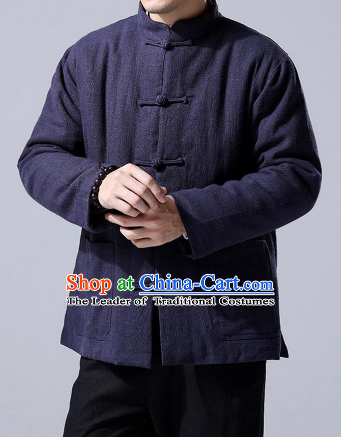 Traditional Top Chinese National Tang Suits Linen Front Opening Costume, Martial Arts Kung Fu Navy Overcoat, Chinese Kung fu Plate Buttons Upper Outer Garment Jacket, Chinese Taichi Thin Cotton-Padded Coats Wushu Clothing for Men