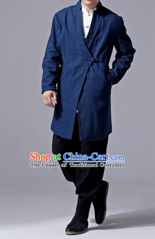 Traditional Top Chinese National Tang Suits Linen Slant Opening Costume, Martial Arts Kung Fu Navy Overcoat, Chinese Kung fu Plate Buttons Upper Outer Garment Jacket, Chinese Taichi Thin Dust Coats Wushu Clothing for Men