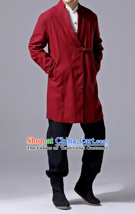 Traditional Top Chinese National Tang Suits Linen Slant Opening Costume, Martial Arts Kung Fu Red Overcoat, Chinese Kung fu Plate Buttons Upper Outer Garment Jacket, Chinese Taichi Thin Dust Coats Wushu Clothing for Men