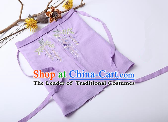 Traditional Ancient Chinese Costume Chest Wrap, Elegant Hanfu Boob Tube Top Clothing Chinese Song Dynasty Embroidery Wisteria Violet Condole Belt for Women