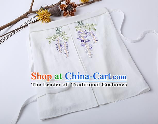 Traditional Ancient Chinese Costume Chest Wrap, Elegant Hanfu Boob Tube Top Clothing Chinese Song Dynasty Embroidery Wisteria White Condole Belt for Women