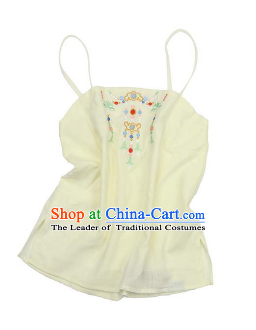 Traditional Ancient Chinese Costume Sun-Top, Elegant Hanfu Boob Tube Top Clothing Chinese Han Dynasty Embroidery Jasmine Light Yellow Condole Belt for Women