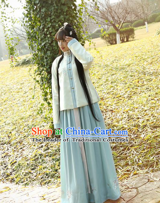 Traditional Ancient Chinese Costume Complete Set, Elegant Hanfu Clothing Dress and Blouse, Chinese Han Dynasty Embroidered Clothing for Women