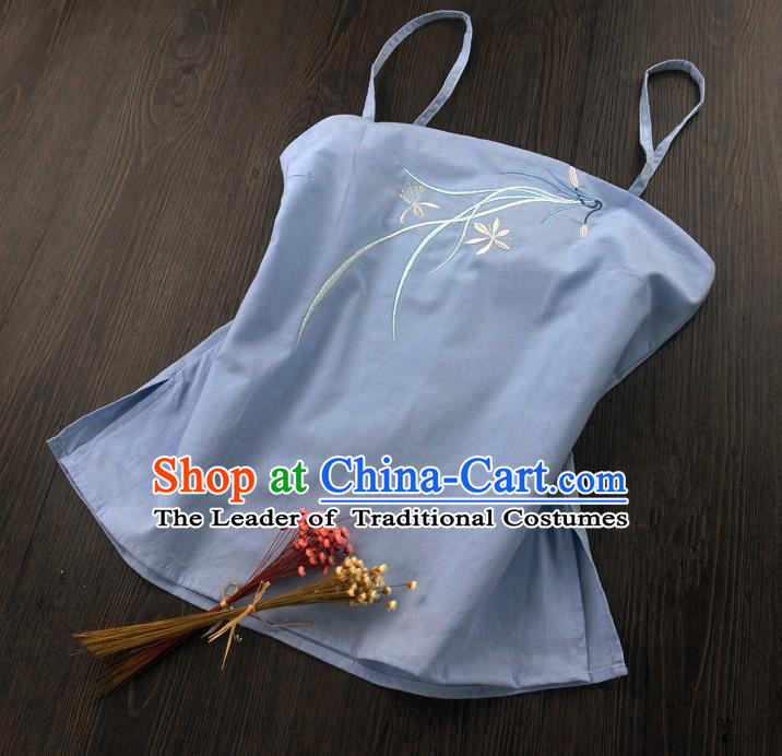 Traditional Ancient Chinese Costume Sun-Top, Elegant Hanfu Boob Tube Top Clothing Chinese Han Dynasty Embroidery Chlorophytum comosum Skyblue Condole Belt for Women