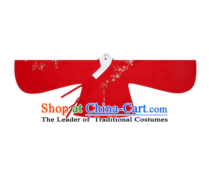 Traditional Ancient Chinese Female Costume Blouse, Elegant Hanfu Clothing Chinese Ming Dynasty Palace Lady Embroidered Plum Blossom Red Shirt Clothing for Women